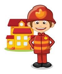 Мультфильм пожарный возле дома