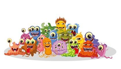 Мультфильм милый монстров и бактерии