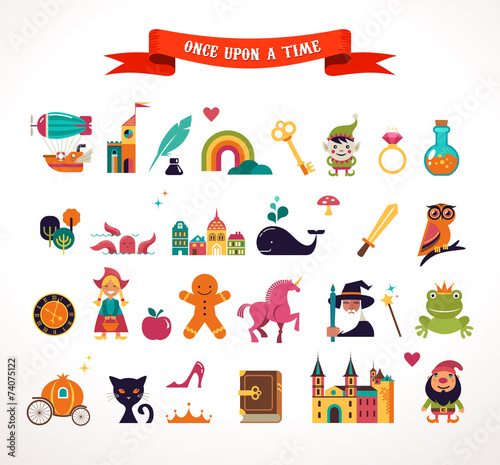 Collection of fairy tale elements, icons - 74075122
