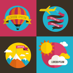 Air balloon, sun, and airplane backgrounds