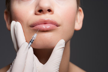 Close up of woman receiving botox