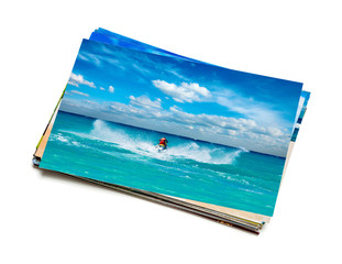 Stack of vacation photos isolated