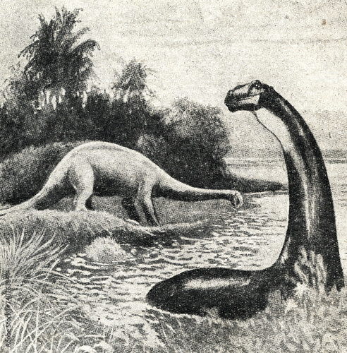 Poster Restoration of Apatosaurus excelsus by Charles R. Knight, 1897