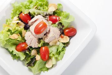 Tuna salad in white plate