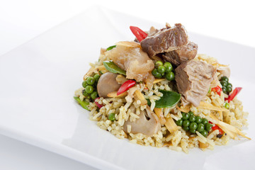 Spicy stir fried rice with beef and herbs