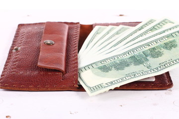Leather wallet with money purse