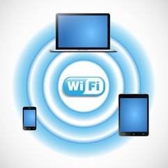 ベクター、wifiとインターネットに接続された機器