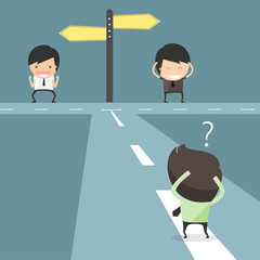 Hesitate to choose path. decision of businessmen