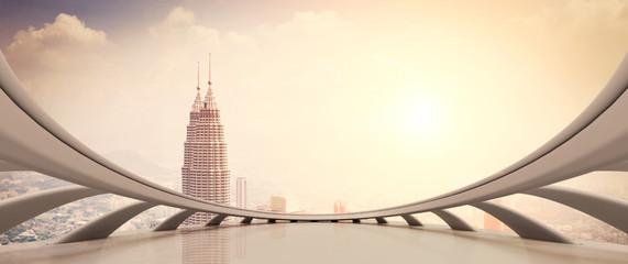 modern skyscraper looking from futuristic style window