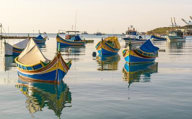 Three colored fishing boats, Malta