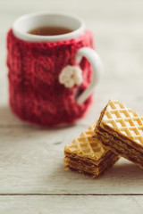 Tea and sweet homemade wafer cakes