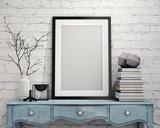 mock up poster frame on vintage chest of drawers, interior - 74078948