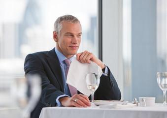 Businessman  in restaurant