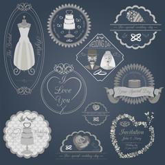 Set of vintage wedding and wedding fashion style logos. Vector l