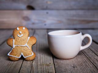 Christmas food. Gingerbread man cookies in Christmas setting.
