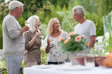 Couples drinking wine in garden