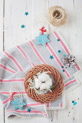 Christmas decorations - stars and wreath with cotton on wooden t