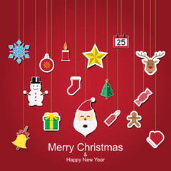 Christmas sticker icon hanging design vector illustration