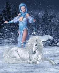 Snow Fairy and Unicorn