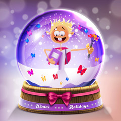 Snow glass crystal ball with small boy in vector