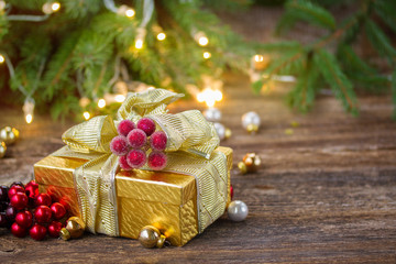 christmas decorations with gift box