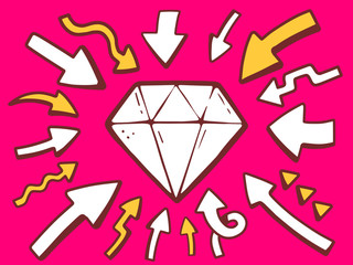 Vector illustration of arrows point to icon of diamond on pink b