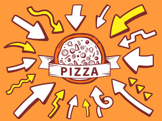 Vector illustration of arrows point to icon of pizza on orange b
