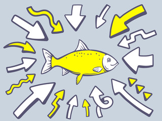 Vector illustration of arrows point to icon of fish on gray back