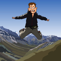 cartoon frightened man jumping on a background of mountains
