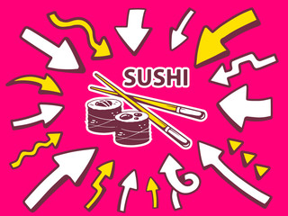 Vector illustration of arrows point to icon of sushi on pink bac