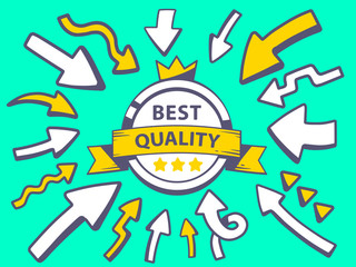 Vector illustration of arrows point to icon of label best qualit