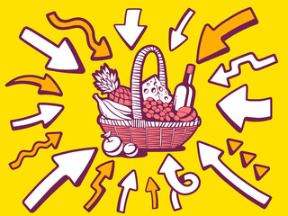 Vector illustration of arrows point to icon of basket with food