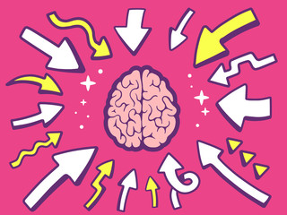 Vector illustration of arrows point to icon of  brain on pink ba
