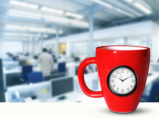 Red large mug with a built-in clock, break