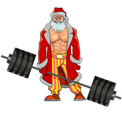 man with pumped muscles dressed as Santa Claus