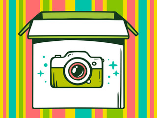 Vector illustration of open box with icon of  photo camera on co