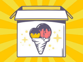 Vector illustration of open box with icon of  ice cream on yello