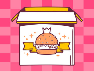 Vector illustration of open box with icon of  big burger with cr