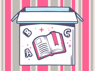 Vector illustration of open box with icon of  open book on pink