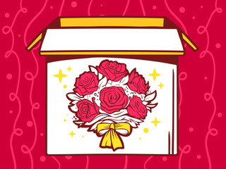 Vector illustration of open box with icon of  bouquet of flowers