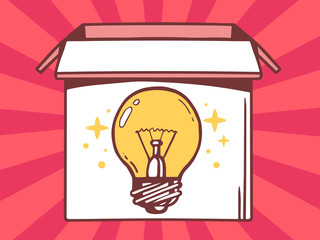 Vector illustration of open box with icon of  bulb light on red
