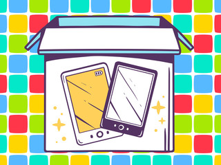 Vector illustration of open box with icon of  phone on color pat