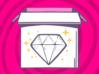 Vector illustration of open box with icon of  diamond on pink pa