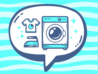Vector illustration of bubble with icon of washing machine on bl