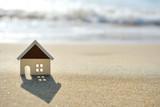 house on the sand beach near sea