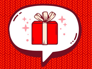 Vector illustration of speech bubble with icon of gift box on re