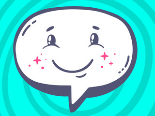 Vector illustration of speech bubble with icon of smile on blue