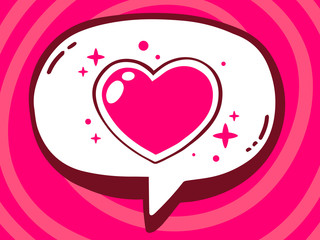 Vector illustration of speech bubble with icon of heart on pink