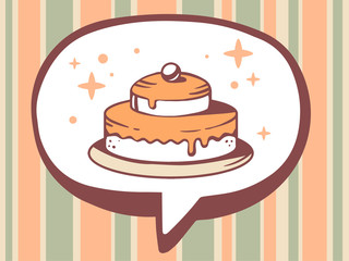 Vector illustration of speech bubble with icon of cake on orange