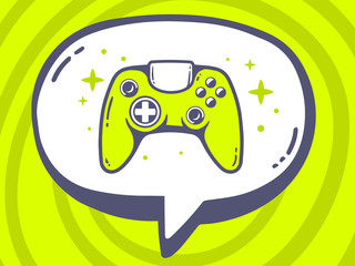 Vector illustration of speech bubble with icon of joystick on gr